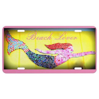 pink underwater mermaid beach lover license plate
