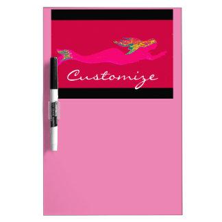 pink underwater mermaid black/pink dry erase board