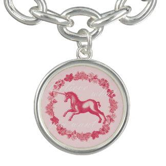 Pink unicorn and flowers bracelets