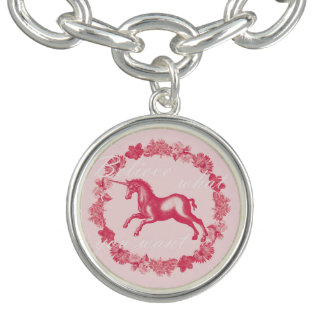 Pink unicorn and flowers charm bracelet