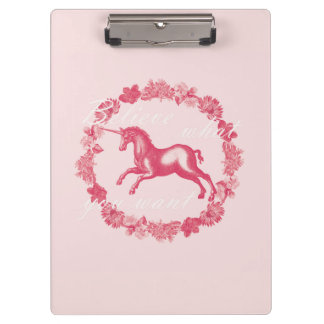 Pink unicorn and flowers clipboard
