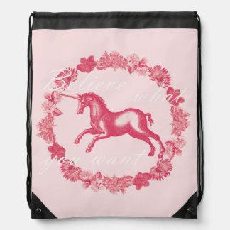 Pink unicorn and flowers drawstring bag