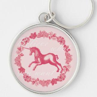 Pink unicorn and flowers keychain