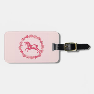 Pink unicorn and flowers luggage tag