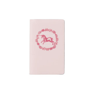 Pink unicorn and flowers pocket moleskine notebook