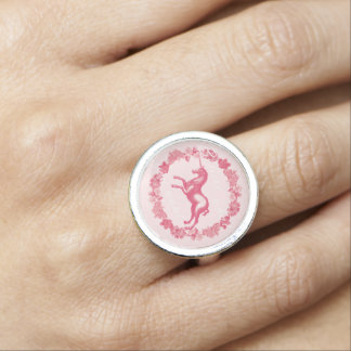 Pink unicorn and flowers ring