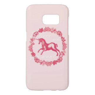 Pink unicorn and flowers samsung galaxy s7 case