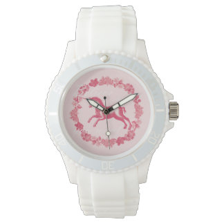 Pink unicorn and flowers watch