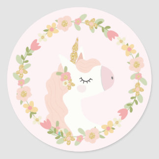 Pink Unicorn Birthday Party Stickers
