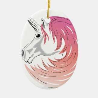 Pink Unicorn Ceramic Ornament