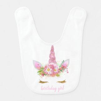 Pink Unicorn Face Birthday Girl Bib