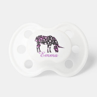 Pink Unicorn Hearts Add Name Pacifier