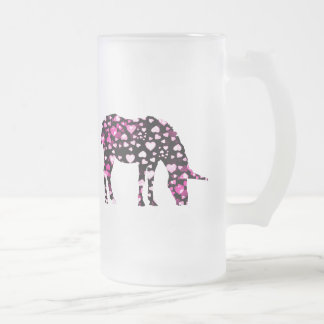 Pink Unicorn Hearts Frosted Glass Beer Mug