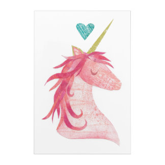 Pink Unicorn Magic with Heart Acrylic Print