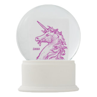 Pink Unicorn Magical Horse Add Name Snow Globe
