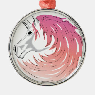 Pink Unicorn Metal Ornament