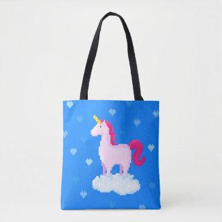 Pink unicorn on a cloud tote bag
