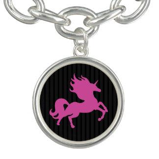 Pink Unicorn on Black Background (IPU) Charm Bracelet