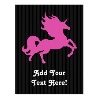 Pink Unicorn on Black Background (IPU) Postcard