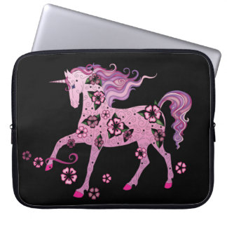 Pink Unicorn on Black Computer Sleeve