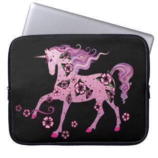 Pink Unicorn on Black Laptop Sleeve