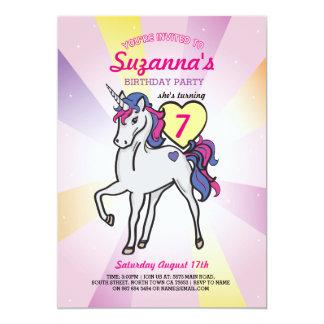 Pink Unicorn Rainbow Birthday Party Girls Invite