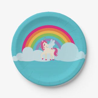 Pink Unicorn Rainbow Paper Plate 7 Inch Paper Plate