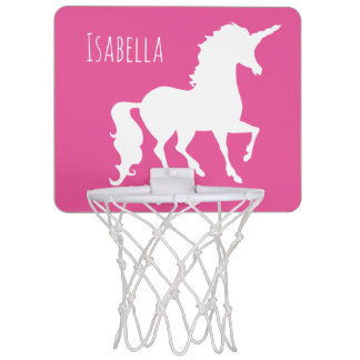 Pink Unicorn Silhouette Girly Kids Personalized Mini Basketball Hoop