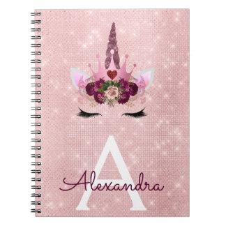 Pink  Unicorn Sparkle Princess Monogram Name Notebook
