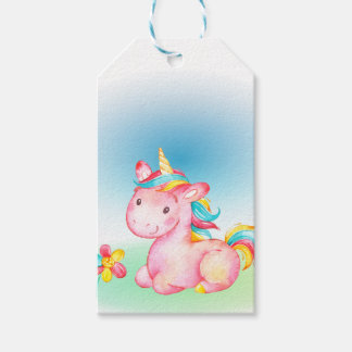 Pink Unicorn With a Yelow Blue Pink Flower Gift Tags