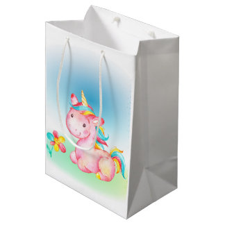 Pink Unicorn With a Yelow Blue Pink Flower Medium Gift Bag
