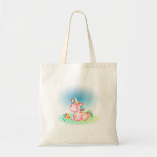 Pink Unicorn With a Yelow Blue Pink Flower Tote Bag