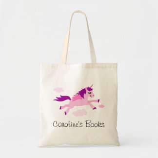 Pink unicorn with wings personalized library book tote bag