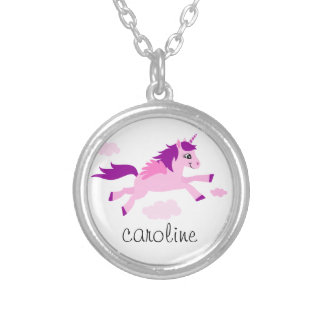 Pink unicorn with wings personalized name silver plated necklace