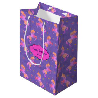 Pink Unicorns Medium Gift Bag
