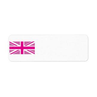 Pink Union Jack Avery Label Return Address Label