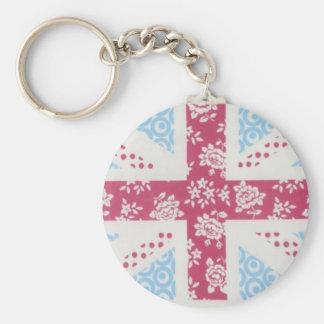 pink union jack basic round button keychain