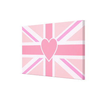 Pink Union Jack/Flag & Heart Pinks Horizontal Canvas Print