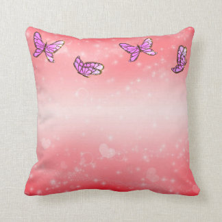 Pink valentine days with butterflys throw pillow