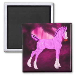 Pink Valentine Draft Horse Foal Square Magnet