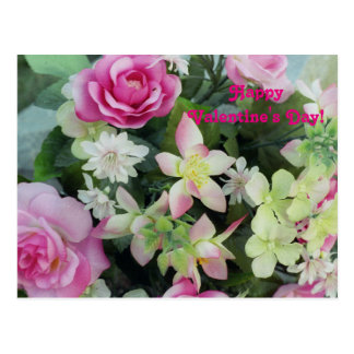 Pink Valentine Flowers Postcard