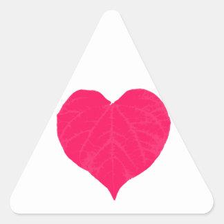 Pink Valentine Heart Leaf Triangle Sticker