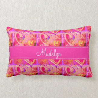 Pink Valentine Hearts Pattern with Monogram Lumbar Pillow