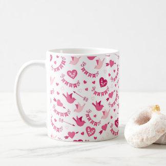 Pink Valentine's Day Hearts Birds Arrows Pattern Coffee Mug