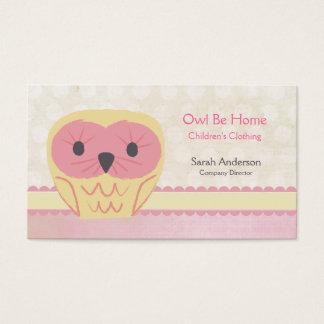 Pink Vanilla Lemon Owl Shabby Chic Business Card