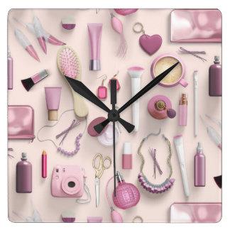 Pink Vanity Table Wallclock
