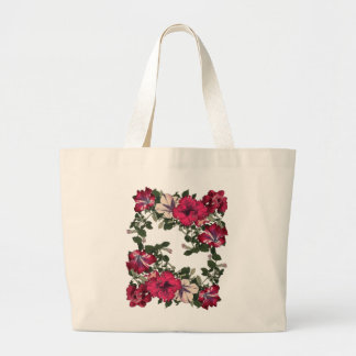 Pink Variegated Ruffled Petunias Vintage Large Tote Bag