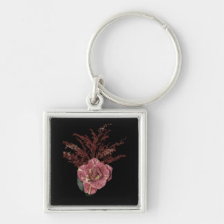 Pink Verigated Rose Silver-Colored Square Keychain