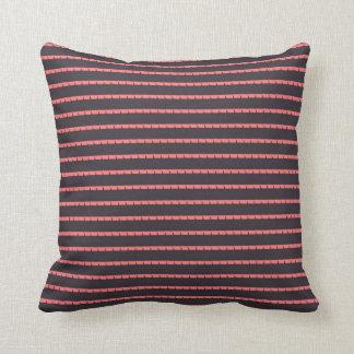 Pink Vertical pattern lines, Black Throw Pillow