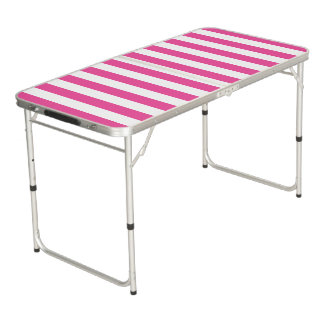 Pink Vertical Stripes Beer Pong Table